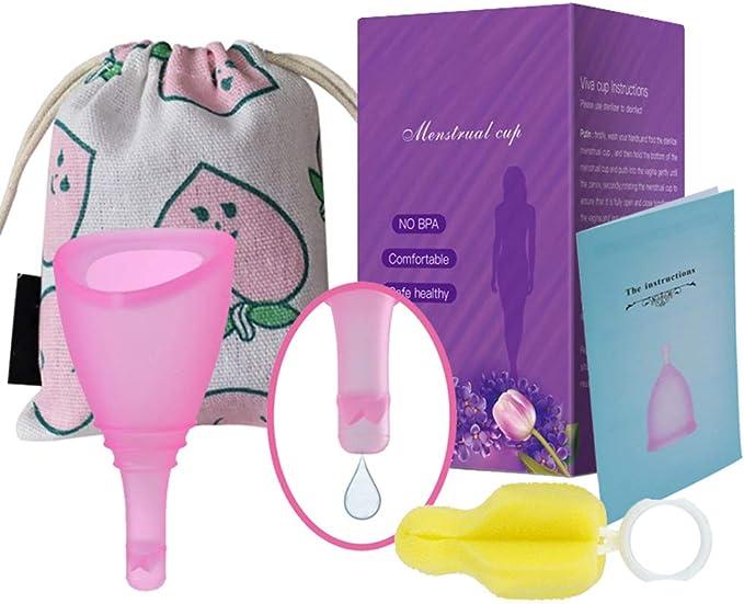 Mlamat Copa menstrual de silicona con válvulas, cepillo de ...