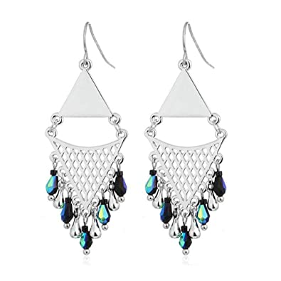 4ad28c69c Amazon.com: DIDa Silver Bohemian Hollow Rhombus Long Tassel Drop Dangle  Earrings for Women: Jewelry