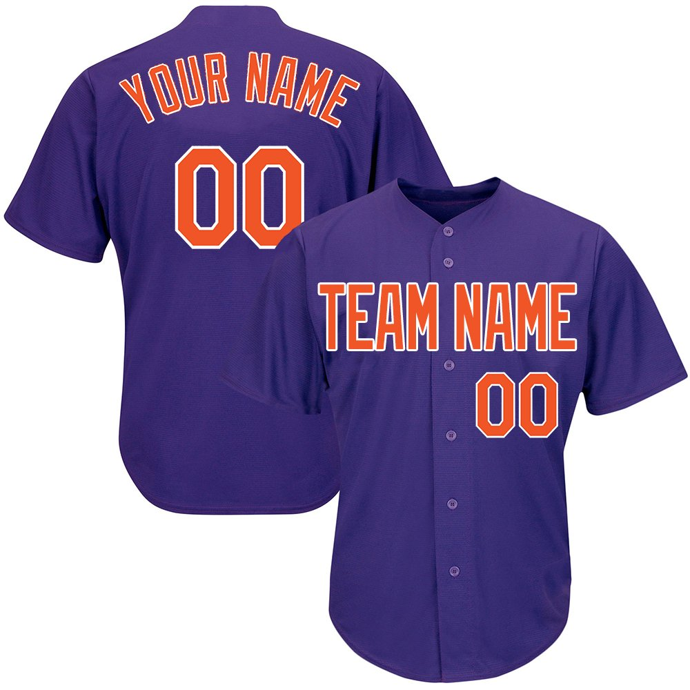 Custom Men's Purple Baseball Softball Jersey with Embroidered Your Name and Numbers,Orange-White Size S by DEHUI