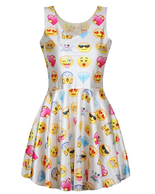 YipGrace Damen Emoji Eindruck Minikleid ärmellos Rundhalsausschnitt Tank Kleid Ausgestelltes Gefältelt Elastic Mini Sommerkleid Clubwear