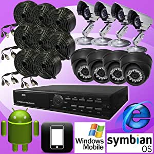 DNT 8ch 8 Channel H.264 Standalone Surveillance CCTV DVR Digital Video Recorder with 8 Color Day Night Vision Camera Security Complete System Package, Real Time CIF Record 240fps, Remote Network Monitoring, Support Internet Explorer, I-phone, Android, Wince, Symbian. CMS Software, 8ch Playback Simultaneously, USB Backup/vga Output/8 Audio Input, Support USB Mouse Control