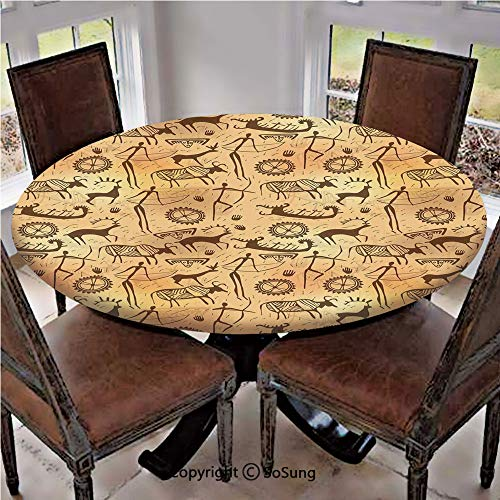 Elastic Edged Polyester Fitted Table Cover,Dated Irregular Caveman Paint Forms with Bird and Cow Shape Early Modern Humans,Fits up 45
