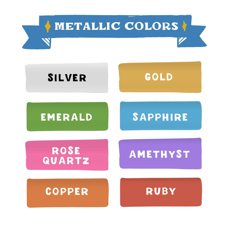 Metallic Liquid Chalk Marker Pens by VersaChalk (6mm Bold Chisel + Bullet Tip) – 8 Metallic Colors | Dust Free, Water-Based, Non-Toxic by VersaChalk (Image #3)