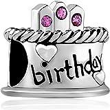 Pugster Happy Birthday Gifts Charm Sale Cheap Birthstone Crystal Beads fit Pandora Chamilia Charm Bracelet
