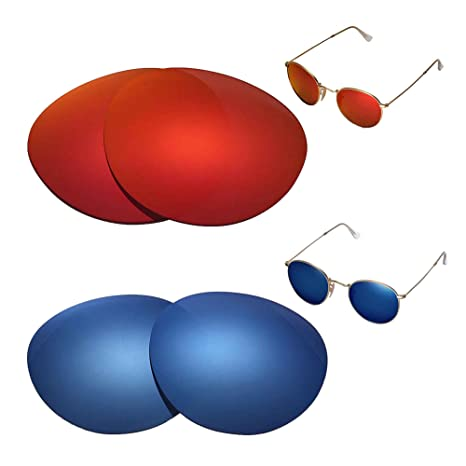 b89f292fb3 Amazon.com   Walleva Polarized Fire Red + Ice Blue Replacement Lenses for  Ray-Ban Round Metal RB3447 50mm   Sports   Outdoors