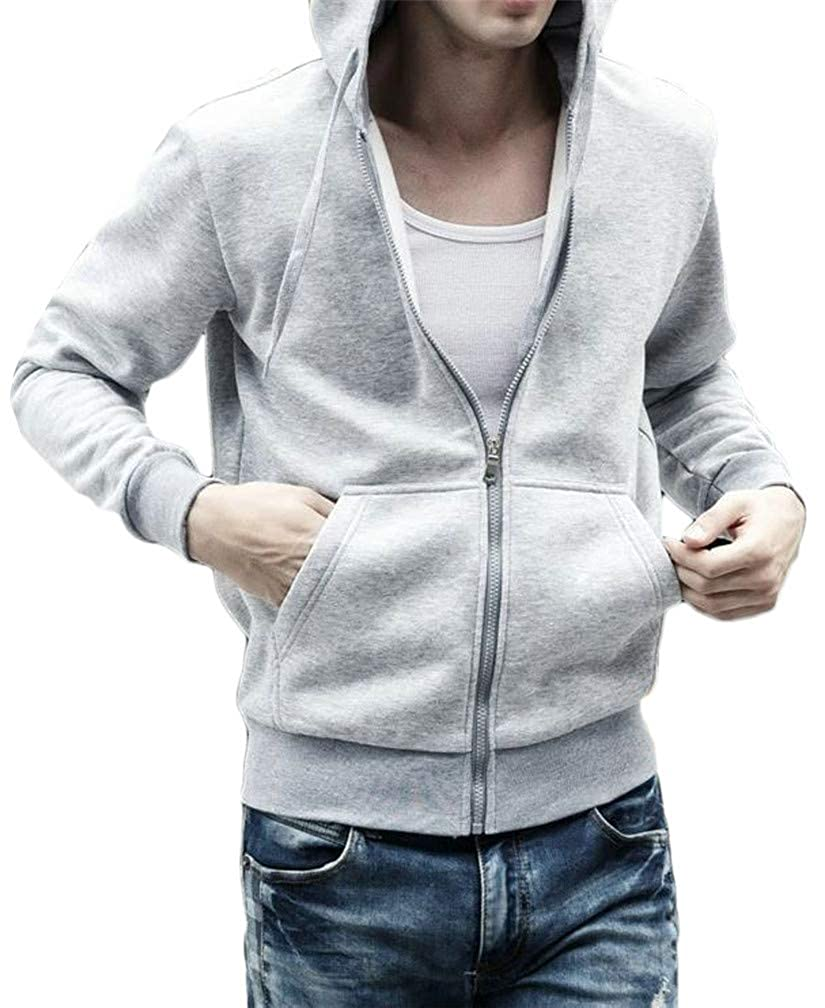 Blyent Mens Loose Zipper Pocket Drawstring Fleece Hooded Sweatshirts