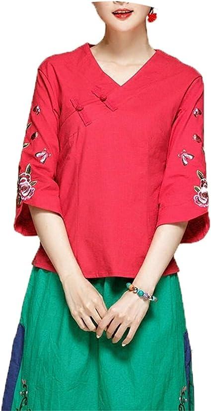 Habitaen Blusa China para Mujer con Cuello de Mandarina Oriental de Lino Camisa Blusa Cheongsam Parte Superior - - 2X-Large: Amazon.es: Ropa y accesorios