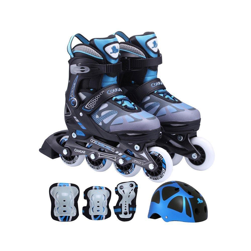 Cougar 733 Speedster Kids Inline Skates and Gear Combo (Azure Blue, Medium) by Cougar
