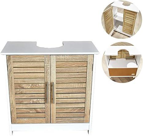 BM 4007 - Mueble bajo lavabo o armario para debajo del lavabo, 60 x 30 x 60 cm, MDF, color blanco/madera trigo, con dos puertas y un estante