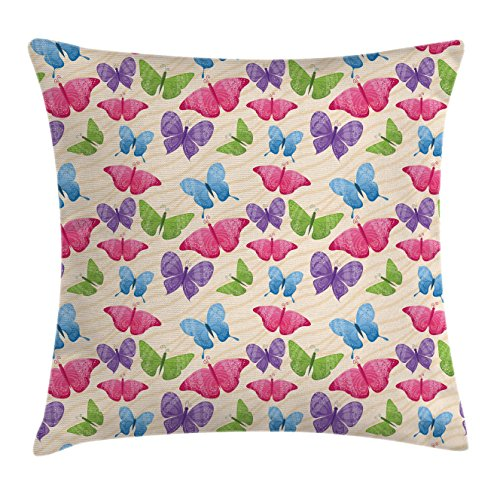 Modern Throw Pillow Cushion Cover by Ambesonne, Cute Colorful Butterflies in Vibrant Tones Mothes Spiritual Wings Kids Girls Design, Decorative Square Accent Pillow Case, 40 X 40 Inches, Multicolor