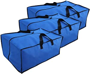 Heavy Duty Storage & Moving Bags - Durable Water Resistant Totes 600 Denier Nylon with Zipper Closure Backpack Carrying Handles - Compatible with IKEA Frakta Hand Carts Boxes Bin (3 Pack) (Large)
