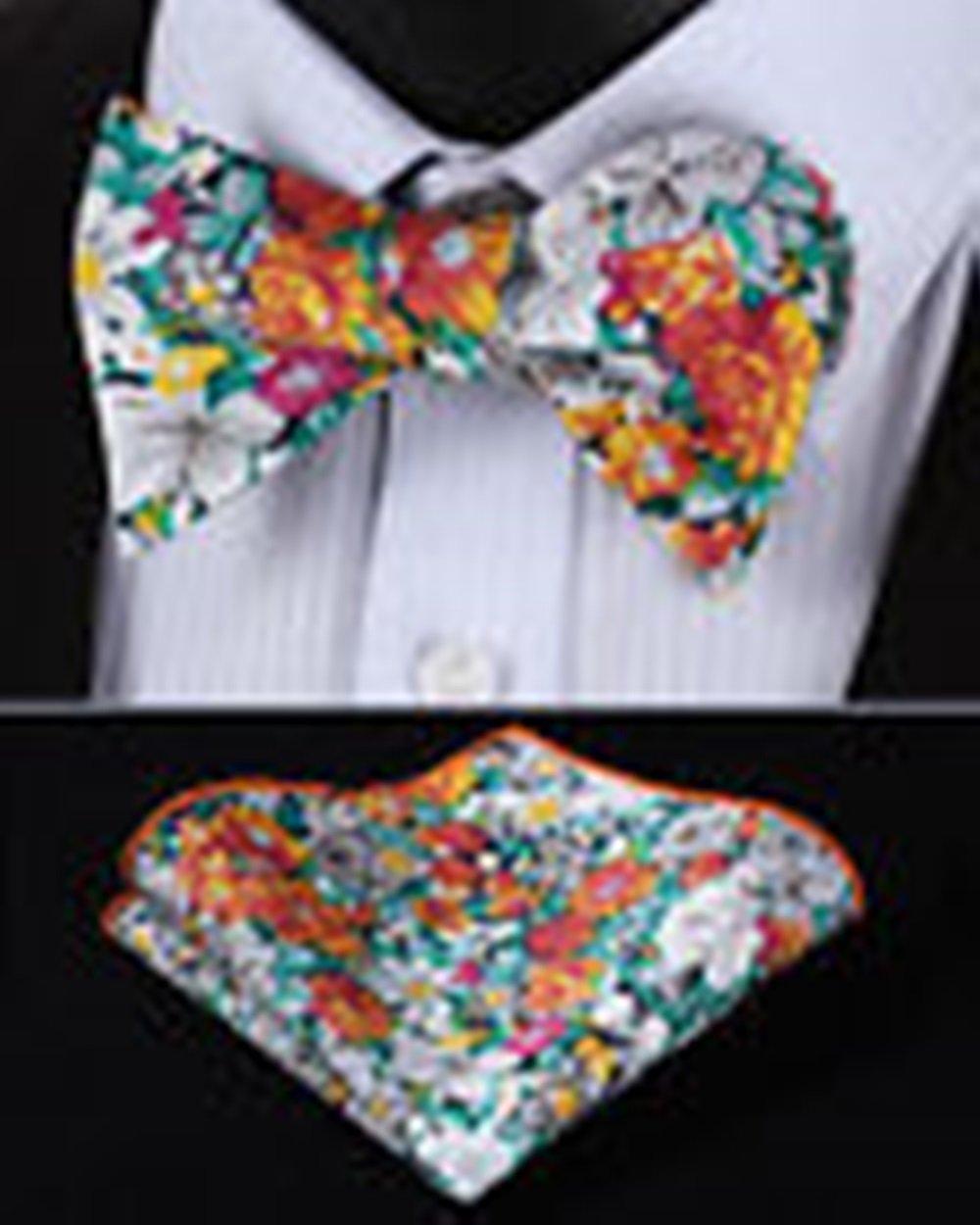 Mondaily DL301N Orange Green Floral Men Cotton Self Bow Tie Pocket Square set #PPTE4591