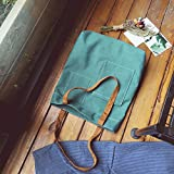 EasyHui Women and Girls Canvas Tote Bag Casual Pure Color Hobo Messenger Shoulder Bag Travel Bag Green
