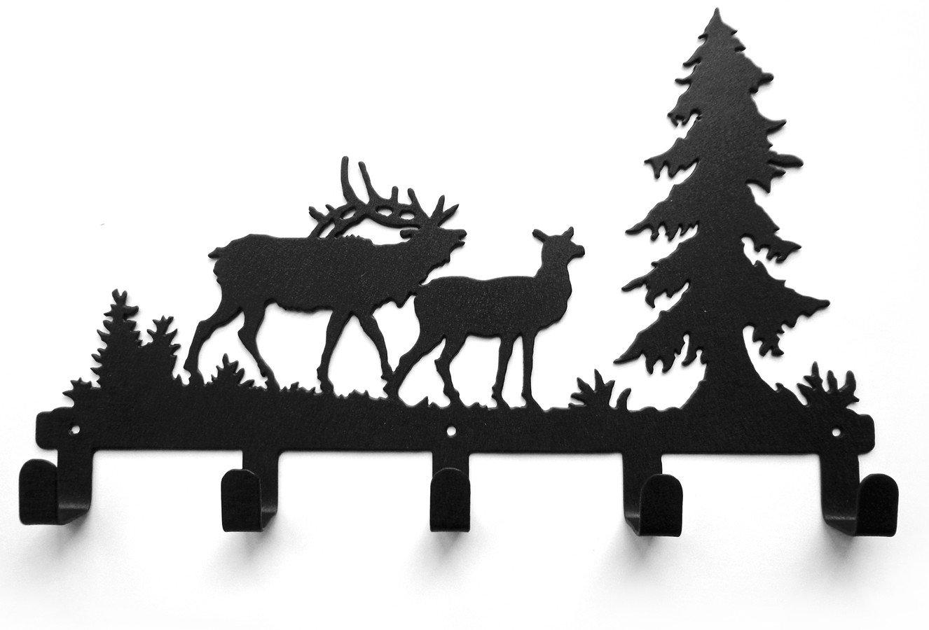 Metal Wall Mounted Bag Hanger Towels Rack Originality Deer Pine Decorative Wall Hook Clothing Hooks Matt Black