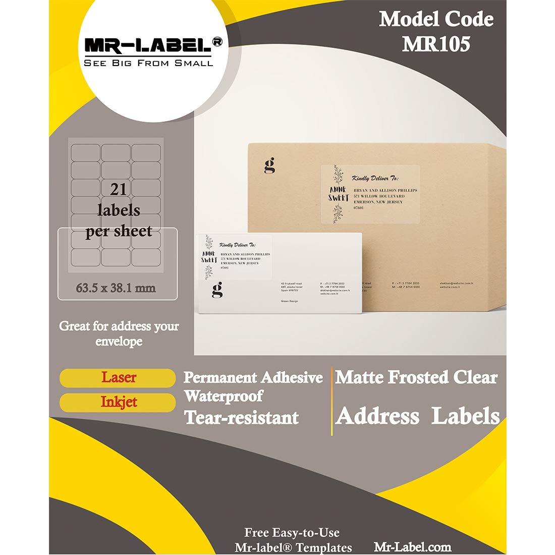 para frascos 210 etiquetas 63.5 x 38.1 mm Sobres MR-Label Etiquetas de direcci/ón transparentes para impresora de inyecci/ón de tinta y l/áser impermeables y resistentes a la rotura