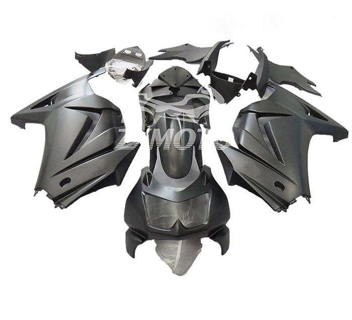 ZXMOTO Matte Black ABS Motorcycle Bodywork Fairing Kit for Kawasaki Ninja 250R EX250 2008 2009 2010 2011 2012 (Pieces/kit: 15)