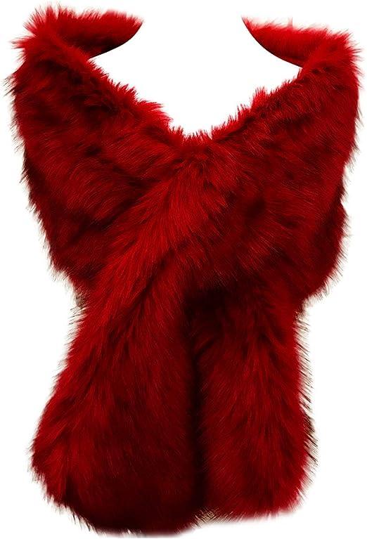 Hotstylezone - Bufanda de invierno para mujer, piel sintética, extra grande