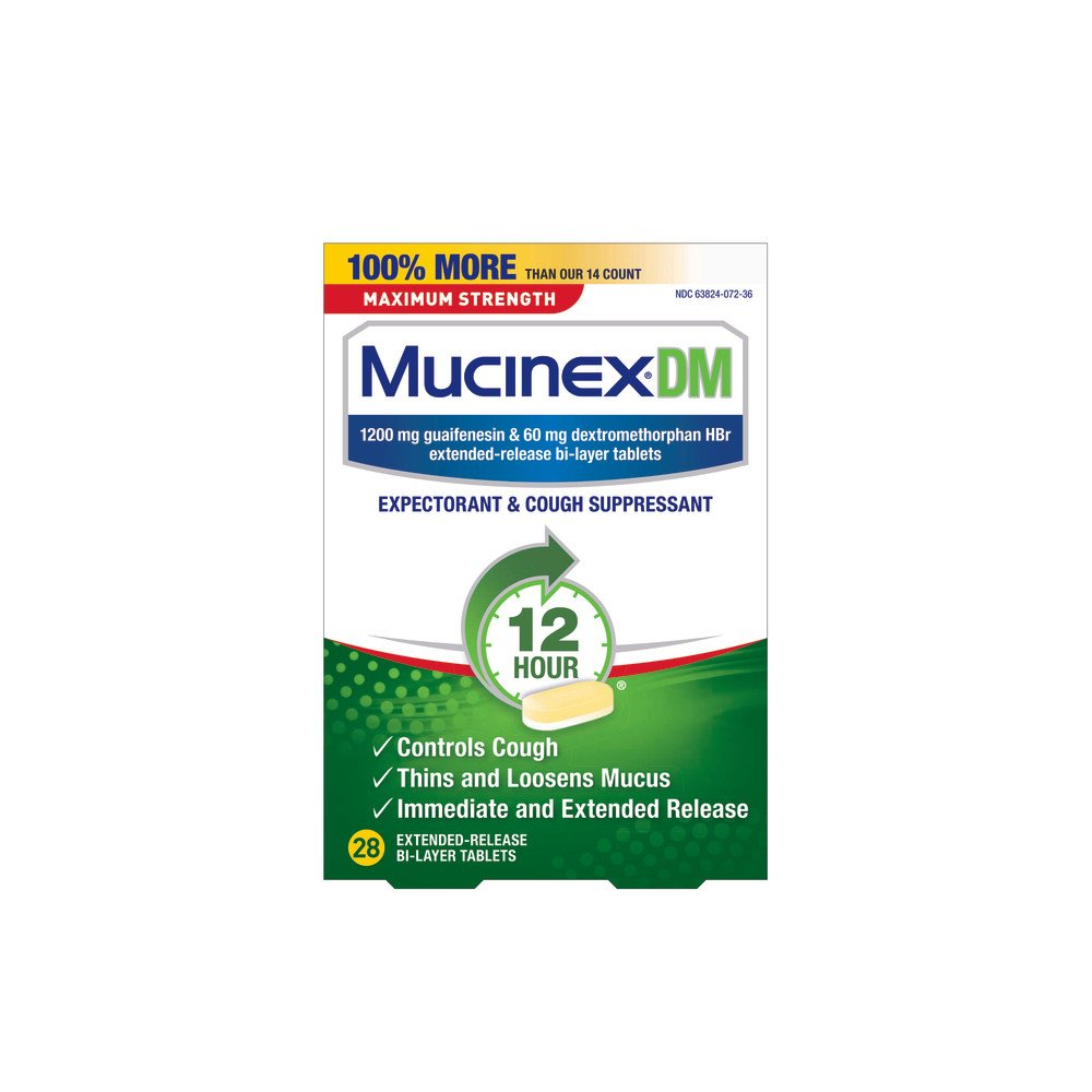 Mucinex DM 12 Hr Max Strength Expectorant & Cough Suppressant Tablets, 28ct by Mucinex