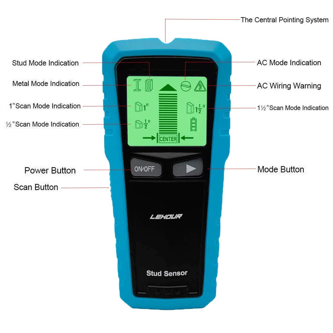 LEHOUR Detector de Pared, Stud Finder con 5-en-1 Metal AC Alambres Escáner de Madera con Pantalla LCD Retroiluminada para Detecta AC Cable, Azulejos, ...