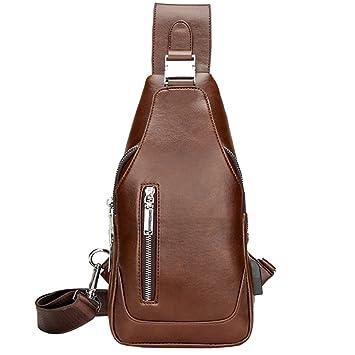 Amazon.com  Sling Bag - Bageek Mens Shoulder Bags Crossbody Bag Daypack Pu  Leather Purse with USB Charging Port Side Bag  Bageek Direct c8e43d3fdf178