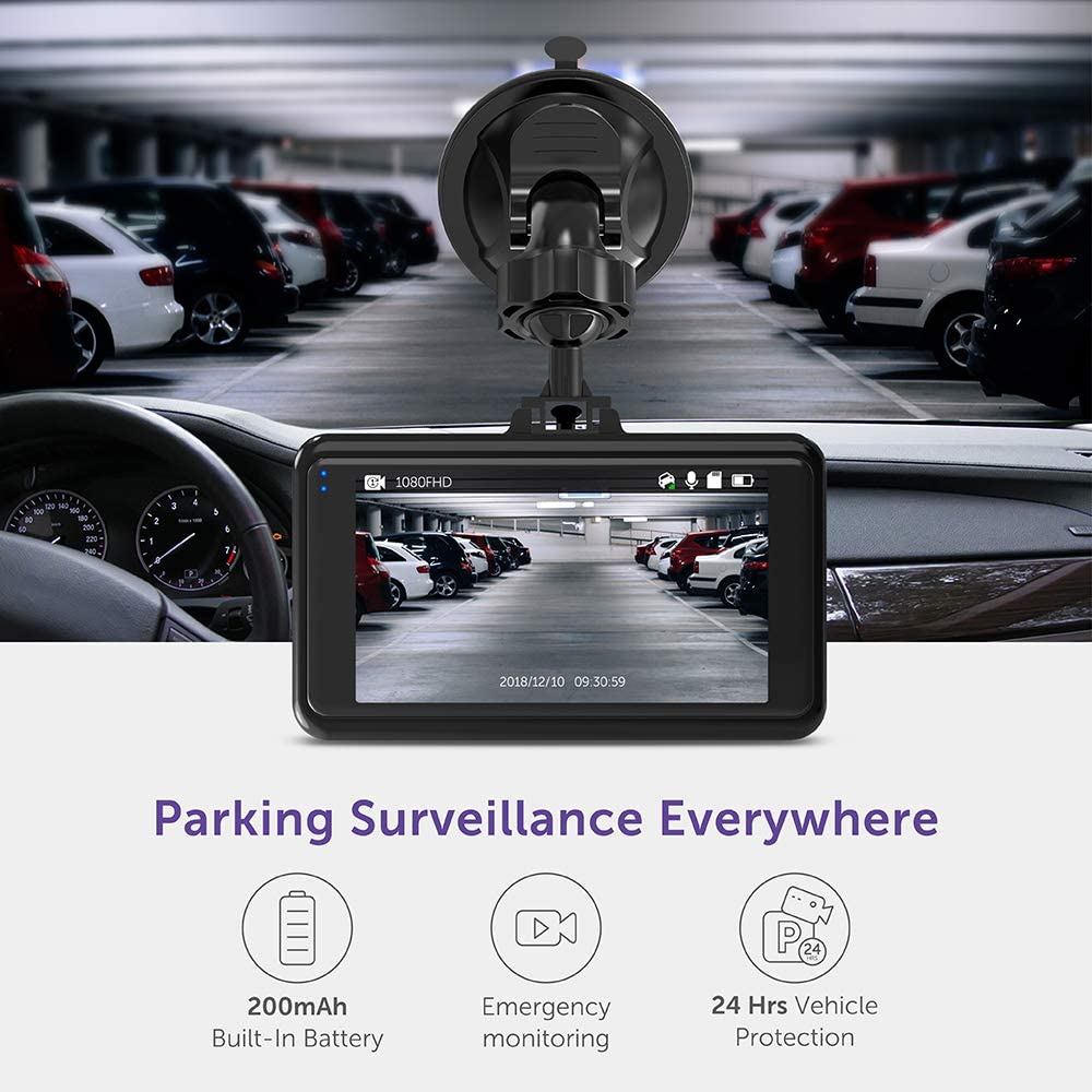 Driving Recorder with 3 Inch LCD Screen Motion Detection Black Loop Recording VAVA Dash Cam 1080P Full HD Car DVR Dashboard Camera
