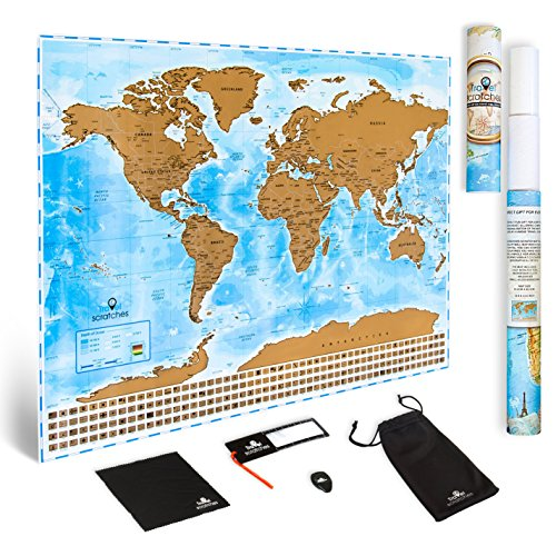 Scratch Off World Map Travel Poster   Us States   Country Flags  Deluxe Personalized Tracker Memory Map  Scratcher Included  Perfect Traveler Gift  Blue   Gold Edition By Travelscratches