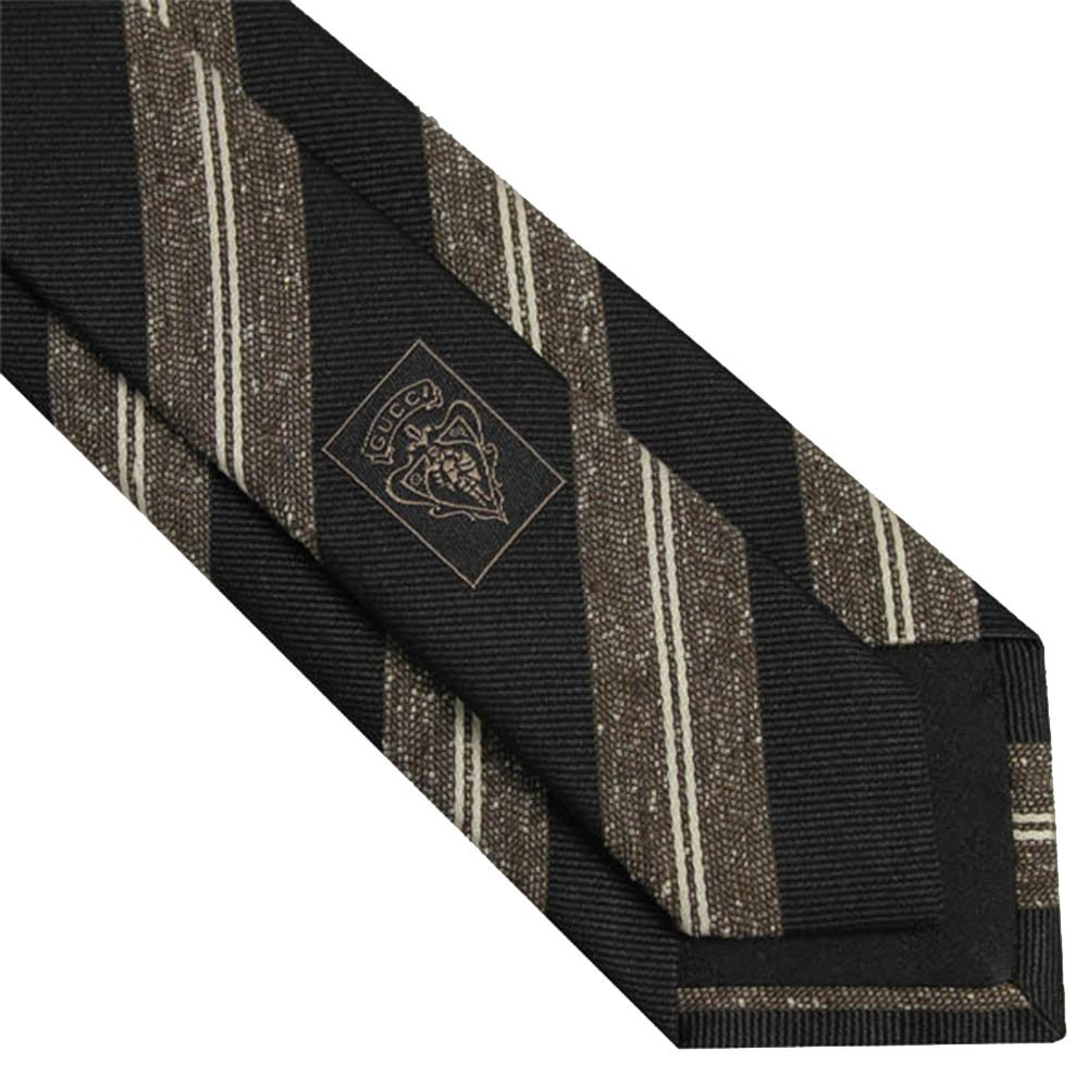 Gucci Woven Silk Men's Necktie 351807, Black/Brown
