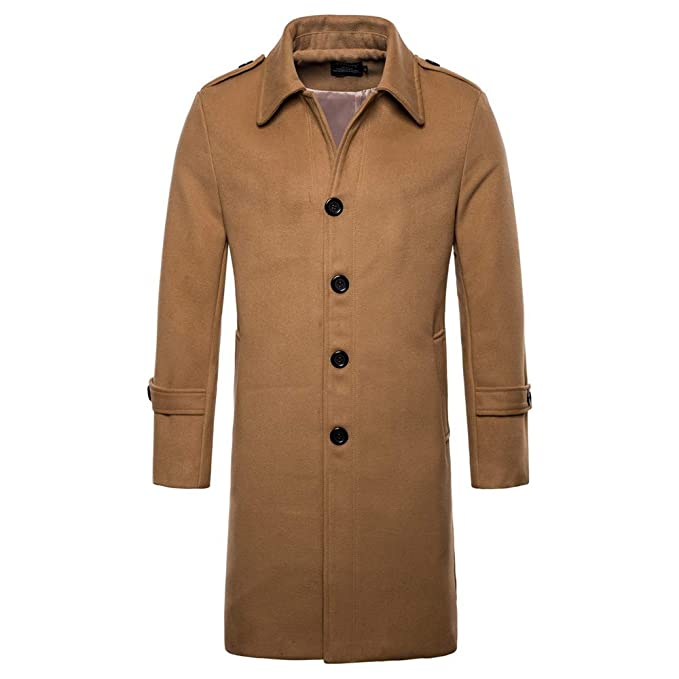Waterproof Jackets for Men Lightweight Packable. Mens Casual Autumn Winter Long Sleeve Solid Button Lapel Woolen Coat Blouse at Amazon Mens Clothing store ...
