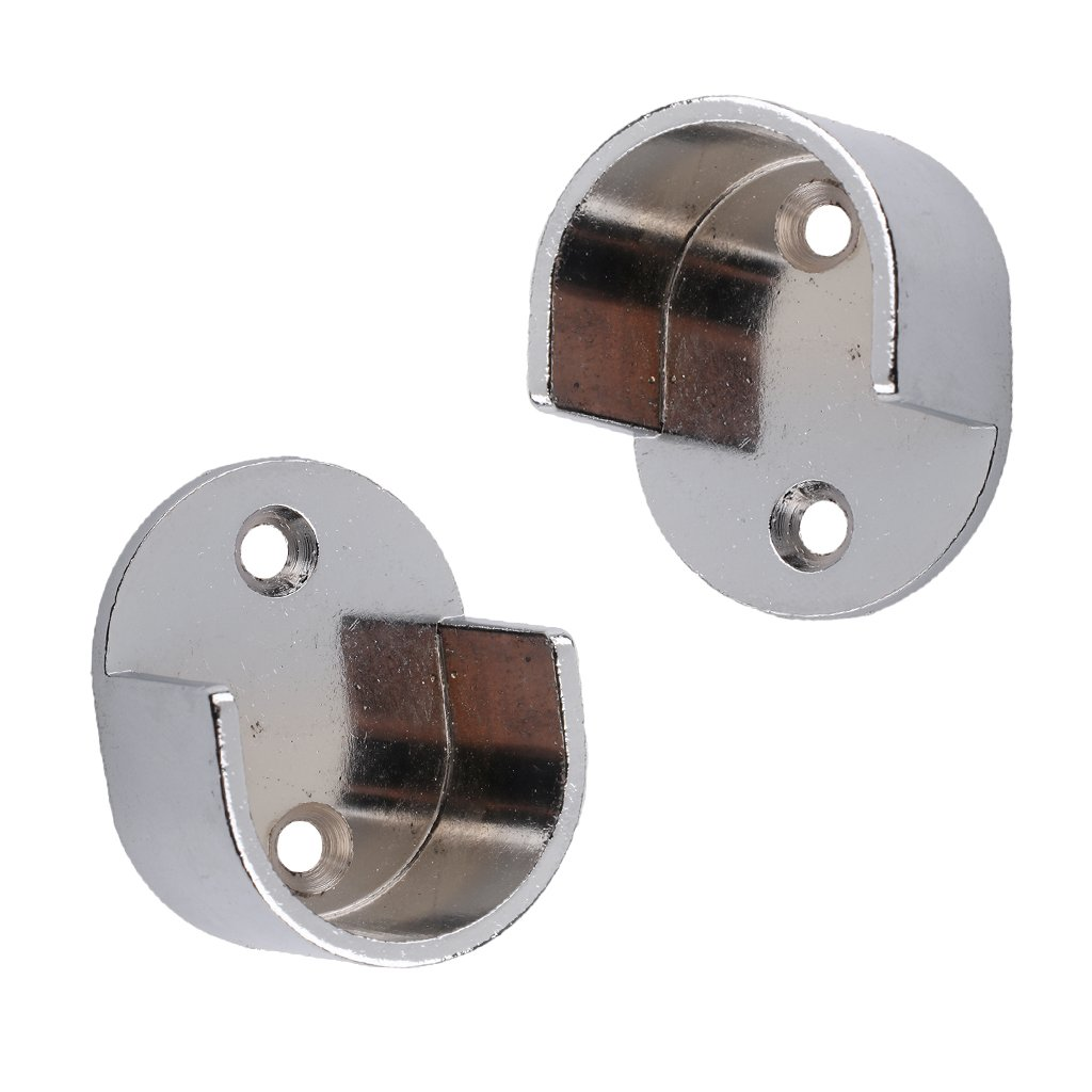 Baoblaze One Pair 25mm 28mm Metal Curtain Pole Wall Recess Bracket Curtain Rods Finials - #25mm