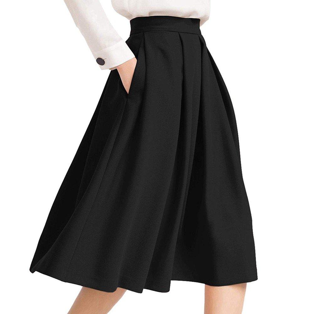 Clearance!Women Work Pleated Flared Skirt,Connia Elegant Zipper High Waisted Pocket Skirt (XL, Black)