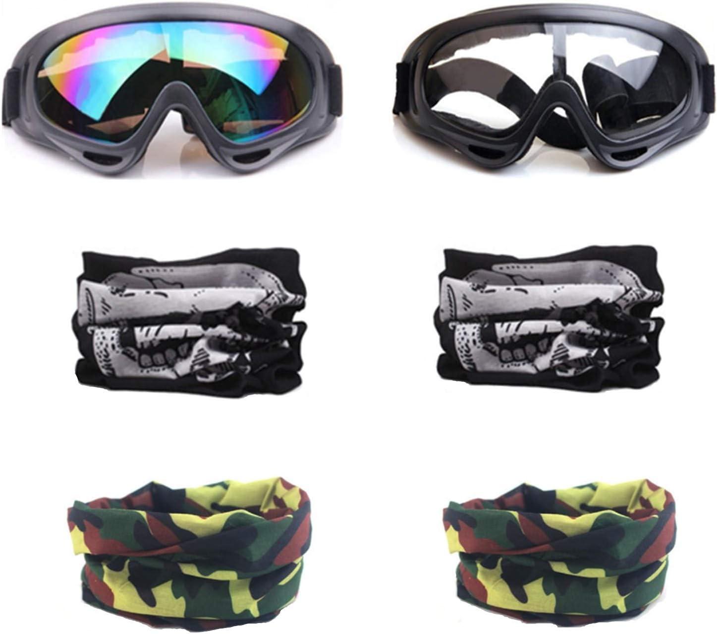 YAAVAAW 2 Piezas Gafas de Protección de Seguridad Y 4 Piezas Máscara Táctica Multifunción Ajustable para Nerf N-Strike Elite Gun Juguete Pistola Juego de Protección Ocular