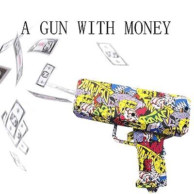 Motto.H Juguete de Pistola de Dinero, Pistola de Efectivo de Mano/dispensador de Billetes Falsos/Tirador de Dinero - Papel Moneda en Aerosol, Despedidas de Soltera: Hogar