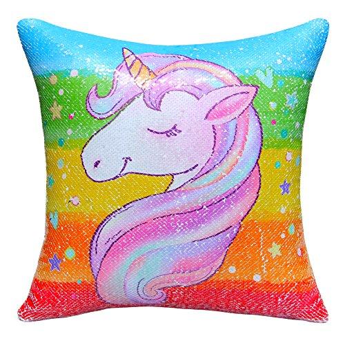 "MHJY Unicorn Pillow Magic Reversible Sequins Pillow with Insert,16"" X 16""Unicorn Sequin Throw Pillow for Home Decor"