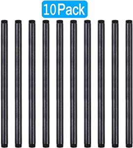 GOOVI 1/2 Inches x 14 Inches Black Malleable Steel Pipe Fitting, 1/2 Inches Black Pipe Threaded Pipe Nipples, Build Vintage DIY Shelving Steampunk Furnitur, 10 Pack.