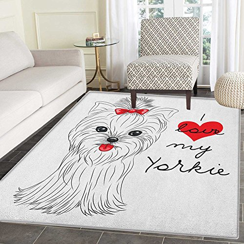 Yorkie Anti-Skid Area Rug I Love My Yorkie Cute Terrier with its Tounge Out Adorable Yorkshire Terrier Door Mat Increase 5'x6' Black White Red
