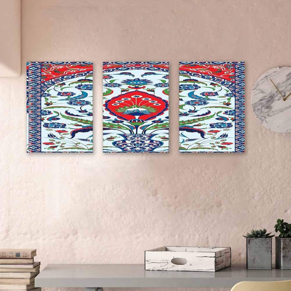 "Turkish Pattern Paintings Oil Floral Nature Art Motifs from Istanbul Abstract Plant in a Vase Canvas Wall Art Hanging Wall Decoration 24""x35""x3 Panels Blue Green Scarlet"