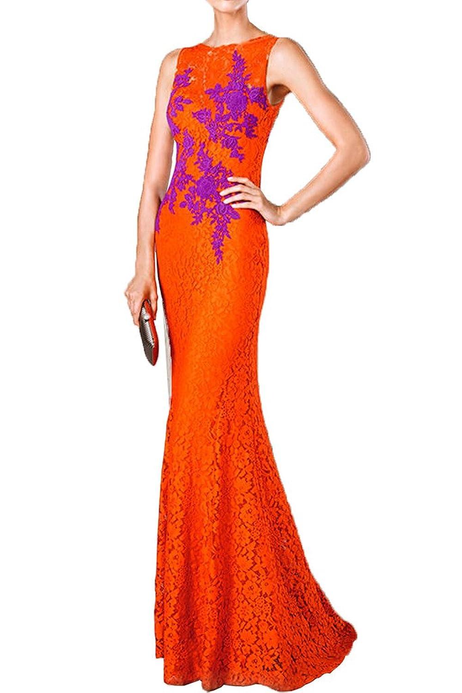 Charm Bridal Long Orange Women Wedding Evening Party Dresses Sleeveless Mermaid