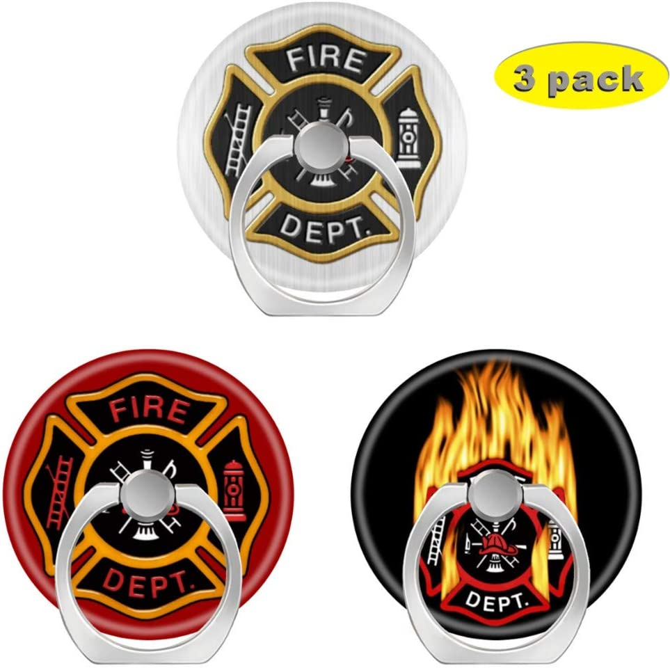 3 Pack//Cell Phone Ring Holder 360 Degree Rotation Finger Stand Works for All Smartphone and Tablets-fire Department Badge Deluxe Flaming