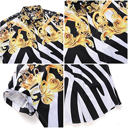 Pizoff Soirée Chemise À Col2 Manches Al003 Al003 Shirt Dress Design Courtes Belle Impression 46 Homme Élégant Luxury De Style rrdgqxp