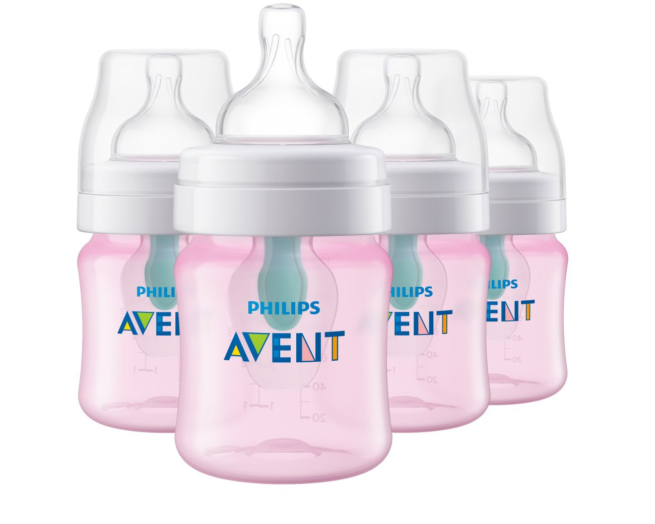 Philips Avent Anti-colic Baby Bottle with AirFree vent, Pink, SCF401/44, 4 Oz, 4 Count