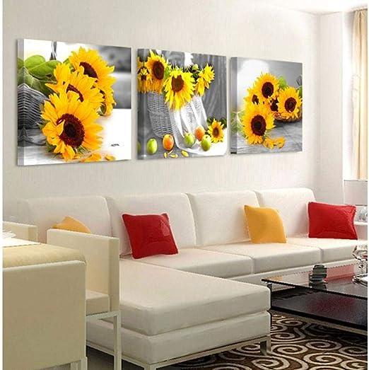 nobrand 3-teilige Leinwand Malerei Gelbe Sonnenblumen Wandbilder f/ür Wohnzimmer Wohnkultur Leinwanddrucke Wandkunst Gem/älde-40X40cm3pcs/_No/_Frame