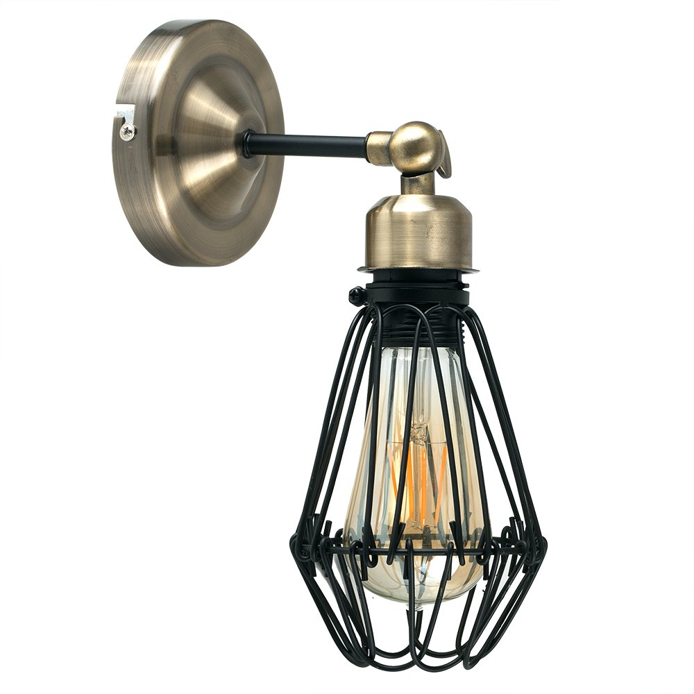 Retro Style Antique Brass & Black Metal Caged Adjustable Knuckle Joint Wall Light Fitting - Complete with a 4w LED Squirrel Cage Steampunk Light Bulb MiniSun