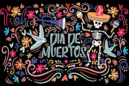 Leyiyi 7x5ft Day of The Dead Backdrop Día de Muertos Grunge Graffiti Banner Mexican Holiday Carniva Skull in Hat Tumpet Photography Background Remerber Mermoial Day Photo Studio Prop Vinyl Wallpaper