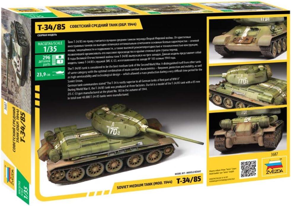 1//100-6160 Military Model Kit ZVEZDA SOVIET TANK T-34-85 Scale