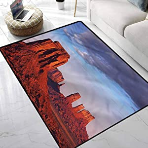 Rugs USA,Monument Valley Sandstone Utah Nursery Area Rug Non Slip Absorbent Super Cozy 7 x 7 Feet