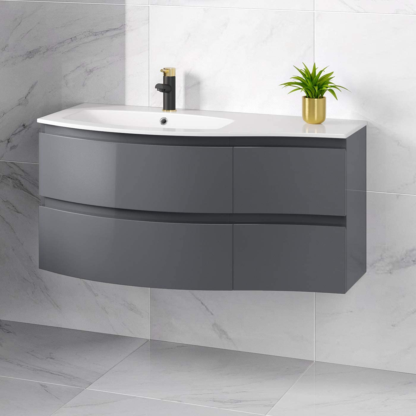 Modern Wall Hung Left Hand Curved Vanity Storage Unit 1040mm Gloss Grey Bathroom Amazon Co Uk Kitchen Home