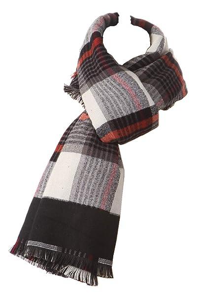 Bufanda a Cuadros Mantones de las señoras abrigos mujer Pañuelos, Long doble capa a cuadros tartán manta caliente rayas bufanda: Amazon.es: Ropa y ...