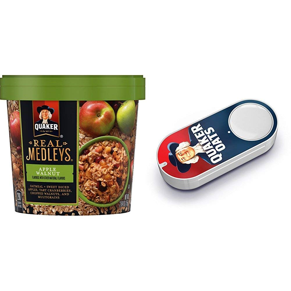 Quaker Real Medleys Oatmeal+, Apple Walnut, Instant Oatmeal+ Breakfast Cereal (12 Cups) (Packaging May Vary) + Quaker Dash Button