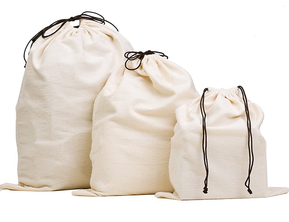 MISSLO Set of 3 Cotton Breathable Dust-Proof Drawstring Storage Pouch Bag SPJ-069P3L