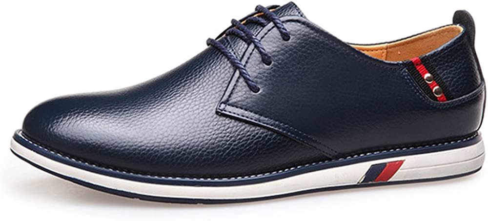 Z.L.F Fashion Mens Oxford Shoes Genuine Cowhide Leather Upper Lace Up Flat Sole Loafer for Gentlemen